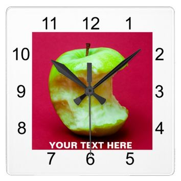 Green apple nibbled square wall clock