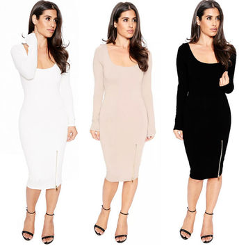 Women Sexy Bodycon Bandage Evening Cocktail Party Long Sleeve Pencil Dress