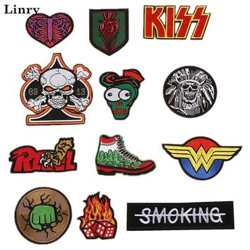 SUPERHERO ZOMBIES KISS Cartoon Embroidered Patches Iron On Clothes Cool Skull Fabric Badge Stickers DIY Apparel Accessories PZ16