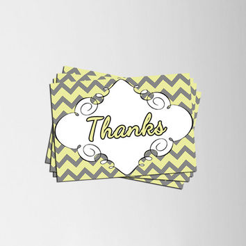 Printable thanks, thank you card with yellow and grey chevrons, DIY printable card, A5 and A4 sizes, print ready card,pastel yellow and gray