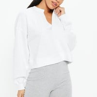 Missguided - White Oversized V Front Washed Sweatshirt