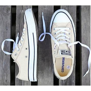 Converse Fashion Women Men Casual Canvas Flats Sneakers Sport Shoes Beige White