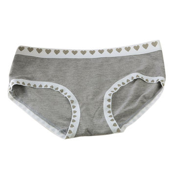 Sexy Womens Girl Fashion1pc Sweet Heart Bamboo Fiber Gray Underwear Briefs Sexy Seamless Panties