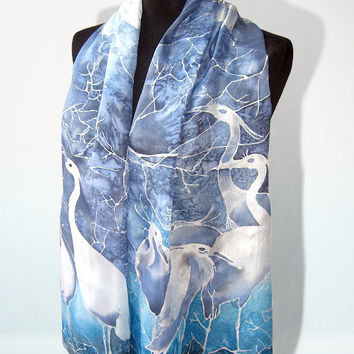 Silk scarf WINTER HERON hand painted silk scarves birds - white, navy blue, cobalt blue, turquoise foulard soie