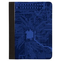 Blue Circuit Board Background Padfolio