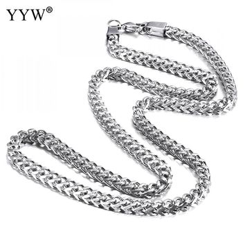 YYW Hip Hop Rope Necklace Chain For Men Silver Color Stainless Steel Hippie Rock Chain Long/Choker Fashion Jewelry For Man Gift
