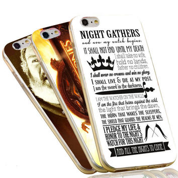 Jon Snow Stark Wolf Quotes The Game of Thrones Case For iPhone 4 4S 5C 5 5S SE 6 6S 7 Plus Soft TPU Phone Cover