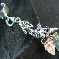 mermaid abalone  ear cuff  mermaid  siren abalone shells in boho gypsy hippie hipster  beach  resort and fantasy style