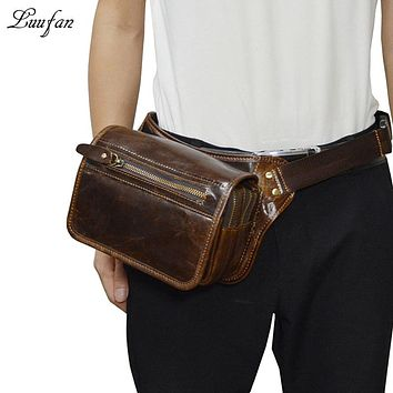 Doubler layer genuine leather waist bag packs phone passport pocket men Cowhide leather messenger bag leather chest bags for man
