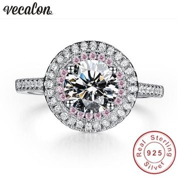 Vecalon Fashion 925 Sterling Silver Infinity ring pink & white 5A Zircon Cz Diamon Engagement wedding Band rings for women