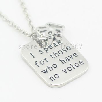 """2016hand stamped""""I speak for those who have no voice""""paw print necklace veterinary vet tech animal rescue veterinarian dog lover"""