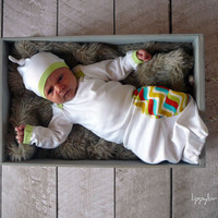 Baby Boy Coming Home Outfit. (size newborn gown and hat)  - MADE TO ORDER-   (lippybrand)