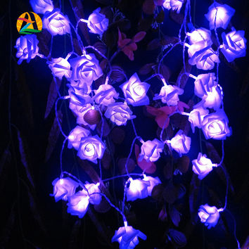 2016 Decor. Rose Multicolor LED String Lights Battery Event Christmas Wedding Birthday Party Decoration Lightings Casamento