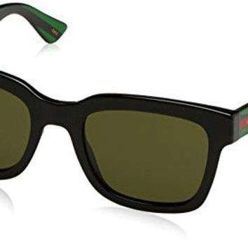 Gucci Fashion Sunglasses, 52/21/145, Black / Green / Green