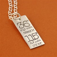 Typography Coordinates Necklace - Spiffing Jewelry