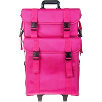 Pink Cloth Professional Rolling Makeup Case