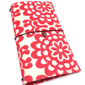 Fabric Fauxdori Travelers Notebook Journal Midori cover with charm- made to order in cream and coral floral- regular size, standard dori