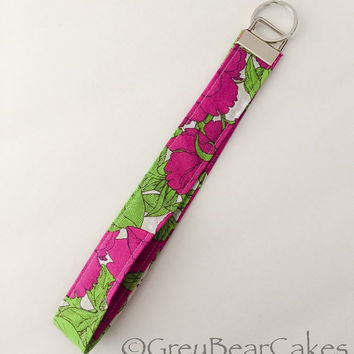 Spring Floral Print Key Fob Wristlet - Fabric Keychain - Fabric Lanyard - Extra Large Size