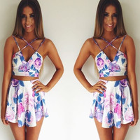 sexy flower print two-pcs playsuits RSED543D