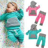 Striped Toddler Kids Baby Boy Girl Clothes Set Hooded Tops Pants Outfits 2PCS Baby Girls Clothing Set