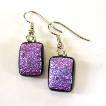 Purple Dichroic Earrings, Dangle Pierce Glass Earrings - Cosmic Purple - 1381