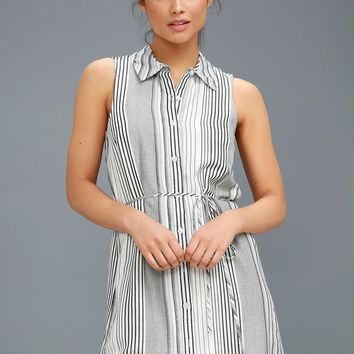 Moss Black and White Striped Sleeveless Shirt Dress