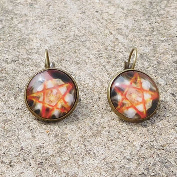 Pentacle Earrings With Sun Brass for Pierced Ears Red and Black Pagan Pentagram Pendant Wiccan Spiritual Jewelry Small