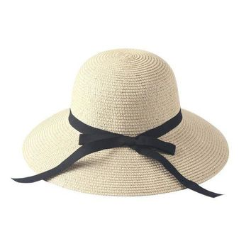 PEAP78W Women New arrival Fashion Bowkont Folding Wide Brim Hat Straw Cap Casual Sun Hat Summer Beach Hat