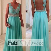 2014 Style A-line Straps Lace Sleeveless Floor-length Chiffon Prom Dresses / Evening Dresses - FabPartyDress.com