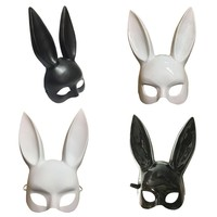Party Masquerade Rabbit Masks Sexy Bunny Long Ears Carnival Halloween Party Costume Mask Black White Halloween Decoration