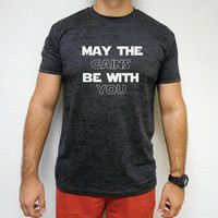 May The Gains Be With You T-Shirt. Men's May The Gains Be With You Workout Shirt. Mens Gym Shirt. Mens. Husband Gift. Boyfriend Gift. Gains