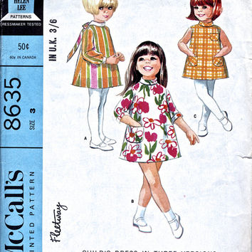 "1960's Child's Dress Pattern - 3 Versions Mod Dress - Unused Vintage Sewing Pattern - McCall's 8635 - Child 22"" Breast"