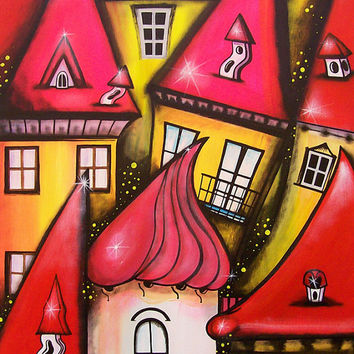 """Original Art Painting Abstract Landscape """" Cheerfulness """" Art Abstract Landscape & Scenic Surreal , Whimsical art"""