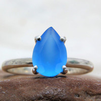 20% OFF - blue chalcedony ring,sterling silver stack ring,teardrop ring,pear drop rings,custom engraved ring