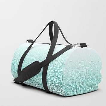 Gradient turquoise blue and white swirls doodles Duffle Bag by Savousepate