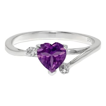 Heart-Shaped Birthstone and White Topaz Sterling Silver Ring