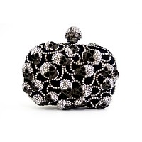 Luxury Rhinestone Encrusted Skull Evening Bag Clutch Purse