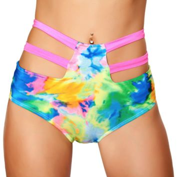 Strappy High Waisted Bottoms-Tie Dye