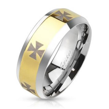 Iron Cross Laser Etched Stainless Steel Gold IP Center Band Ring with Beveled Edge