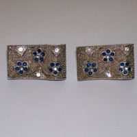 Vintage Earrings, Silver tone/Blue Enamel Flowers & Rhinestones, Clip Earrings