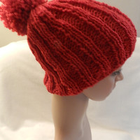 Hand Kintted Red Heart Holiday Yarn Bulky Warm Beanie Ribbed Hat Red  ET 9093006