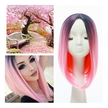 "14"" Short Straight Wig Synthetic Hair Ombre Nice Natural Looking Mix Color Wigs Pink"