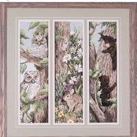 Sale Special Owls, Bunnies, and Baby Bears in Framed Picture - Can/US Free Shipping
