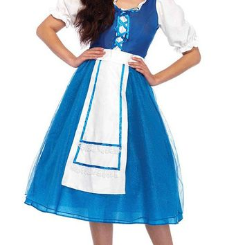 Fair Maiden Blue White Puff Elbow Sleeve V Neck Lace Up Tulle A Line Flare Apron Midi Dress Halloween Costume