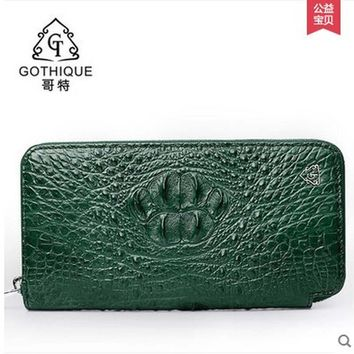 gete Imported Thailand really crocodile clutches female leather bag zipper bag long money wallet lady bags