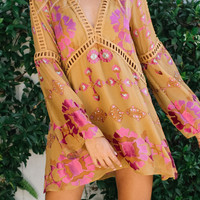 For Love & Lemons || Barcelona A-line dress in old gold