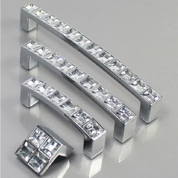 128MM Crystal Diamond Furniture Hardware Handle Door Drawer Wardrobe Kitchen Cabinets Cupboard Pull Knobs Handles Accessories