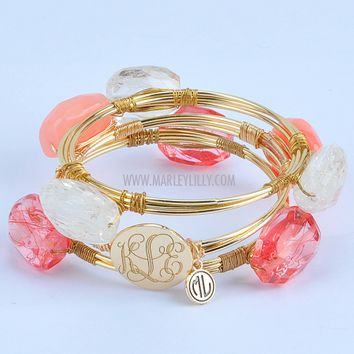Monogrammed Coral Wire and Stone Bangle Set | Bracelets | Marley Lilly