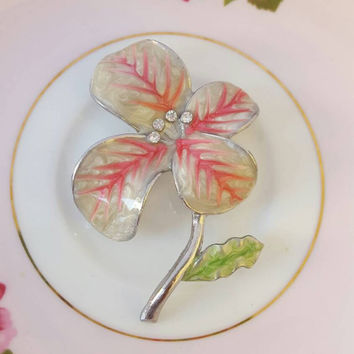 Vintage Rhinestone and Enamel Flower Brooch Pin Circa 1960 Pink and Creamy Pearlized White Variegated Petals, Green Leaf, Silvertone Stem