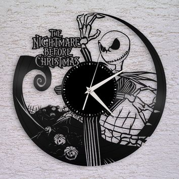 Wall Clock, Nightmare Before Christmas Clock, Jack Skellington Halloween Disney Inspired Wall Decor, Tim Burton, Jack and Sally Vinyl Record